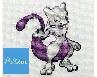 Mewtwo (Pokemon) Cross Stitch Pattern