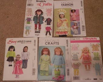 5 Gently Used American Girl Doll Clothing Patterns - All Pieces Included - Simplicity - McCalls