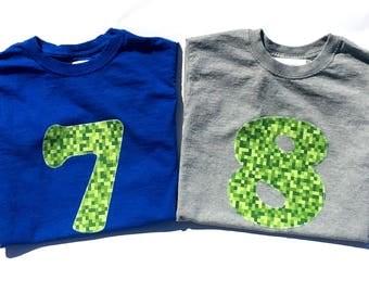 Minecraft Inspired Birthday Shirt , 7 Year Old Birthday, 7th Birthday, Birthday, Boy, READY TO SHIP