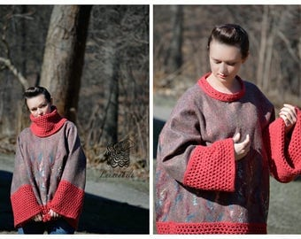 Cranberry - fashion felt Plus Size sweater from natural silk and A-Grade wool, lace and hand embroidery - OOAK -  just to order!