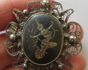 Vintage Siam Thai temple dancer niello sterling silver filigree brooch pin mid century souvenir