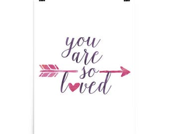 You Are So Loved Print, Nursery Art, Baby Girl Nursery Print