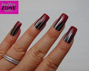 Hand Painted Press On False Nails, Burgundy With Metallic Stripes, Long Length