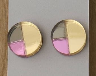 Pink, Gunmetal and Silver Laser Cut Circle Geometric Stud Earrings- Gifts for her - Australian Seller