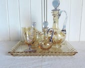A stunning, antique Bohemia crystal glass, ladies bedside glass set of 2 decanters, glass, sweet bowl, and tray, opium, laudanum set