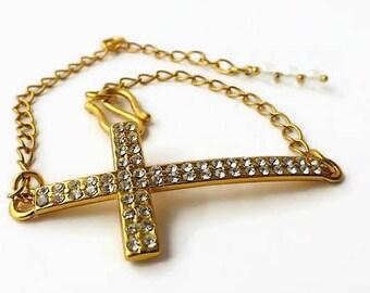Diamante sideways cross bracelet, religious bracelet, ladies gold bracelet, Swarovski bracelet, costume jewelry bracelets, chain bracelet