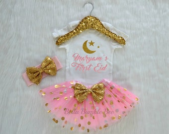 Baby Girl or Boy pink and Gold My First Eid, custom name Short and Long Sleeve Shirt Size Newborn 3 6 9 12 month Islamic Shirt holy 324