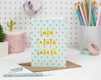 Wedding Card, Mr and Mrs Card, Scrabble Inspired Greetings Card | Claireabellemakes