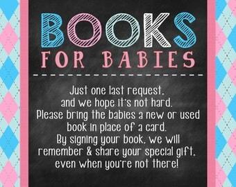 Baby Shower Book Request| Twin Book Request Chalkboard | Digital File