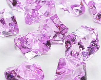 "1"" Lavender Acrylic Ice Chips Rocks Faux Glass Shards Table Scatter Vase Filler Minecraft Pirate Gems Treasure Jewels HP1075"