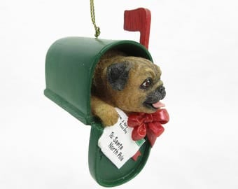 Vintage Pug Puppy Christmas Tree Ornament / Mailbox / Gift for Dog or Pug Lover, Owner / Danbury Mint Pugs and Kisses
