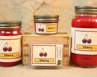Cherry Scented Candle, Cherry Scented Wax Tarts, 26 oz, 12 oz, 4 oz Jar Candles or 3.5 Clam Shell Wax Melts