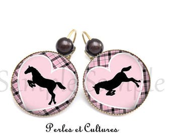 Horse cabochon Pink Purple black gingham heart earrings