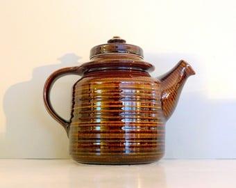 Glazed Kaarna Arabia of Finland Brown Teapot Ulla Procope Vintage Teapot