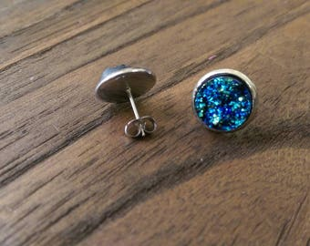 Sparkly Faux Blue Galaxy Sparkly Druzy Stud Earrings made of Stainless Steel 12mm