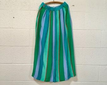 High waist striped vintage skirt, full length skirt, silky striped skirt, 1920s style
