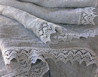 Reserved linen burlap tablecloth natural gray washed table cloth with lace