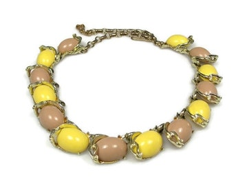 Sale Thermoset Choker Necklace Tan Yellow 1950s