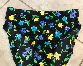 Vintage 90's Neon Floral High Waisted Bikini Bottoms XL swim bathing suit swimsuit