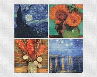 Cross Stitch Chart, Four Squares featuring Vincent Van Gogh Cross Stitch Pattern PDF, Art Cross Stitch, Floral Cross Stitch (FOUR01)