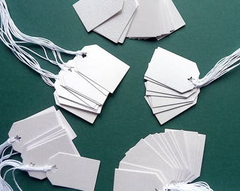 50 White Merchandise Tags, (up cycled swatch book samples)