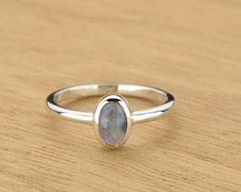 0.35ct Semi-Black Opal Ring in 925 Sterling Silver Size 4.5 SKU: 1979S049