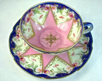 PINK STAR NIPPON Cup & Saucer, Raised Gold Beaded, Cobalt Blue