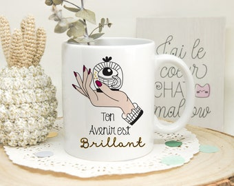 Mug à messages, Message Positif, , Pensée positive, Optimisme, Avenir, Main, Oeil, Mme Irma