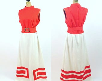 1960s Maxi Dress Vintage 1960s Mod Naxi Dress Orangey-Red and White Vintage Sears Fashions Mod Women's Fashion Size L