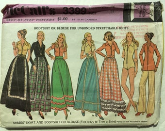 1970s McCall's Pattern 3399 - Vintage 1970s Misses' Maxi Skirt + Bodysuit or Blouse - Sz 14 - Bust 36 - Vintage 1970s McCall's Pattern