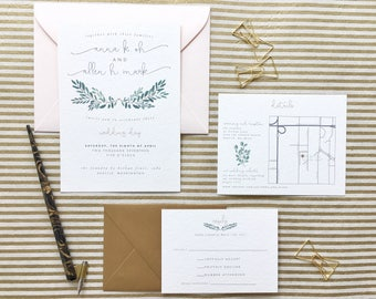 Romantic Greenery Wedding Invitation Suite (Set of 20)