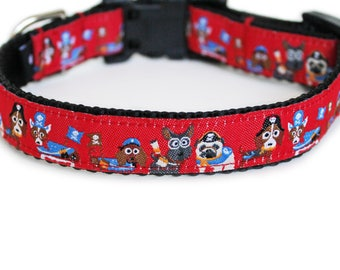 Pirate Dog Collar, Can be Personalized with Laser Engraved Buckle, for Girl or Boy, Benefits Animal Rescue, Small Dog Collar- Pirates Ahoy