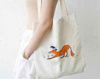 Shopper tote bag, cotton shopping bag, fox tote, hand painted art