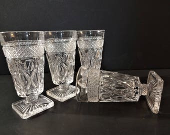 """Vintage Imperial Glass """"Cape Cod"""" Footed Juice Glass - Set of 4 - Early American Pattern Glass - EAPG Stemmed Flute Glasses"""