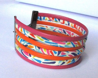 Cuff Bracelet, liberty Ribbon and leather, multicolor