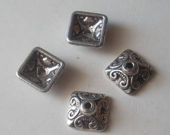 SET of 4 cones / caps square silver plated 10mm