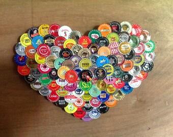 Multi-colored Soda Pop Bottle Cap Heart (#M2)