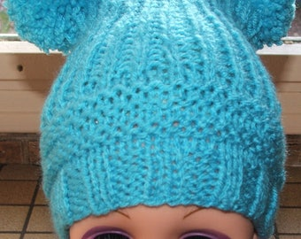 Blue colored hat with 2 PomPoms - size 12-18 months - handmade