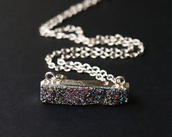 Small Druzy Bar Necklace, Druzy Silver Necklace