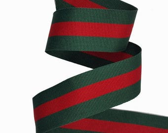 Green Red Striped Ribbon Trim, Double Faced Gross grain Trim