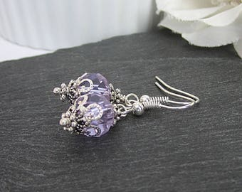 Lapis Bridesmaid Crystal Earrings Lilac Bridesmaid Jewellery Purple Wedding Sets Crystal Dangles Matching Bridal Sets Bridal Party Gifts