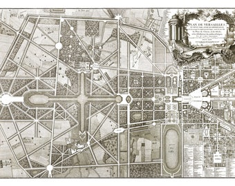 Vintage Drawing Print Plan of Versailles, 1746