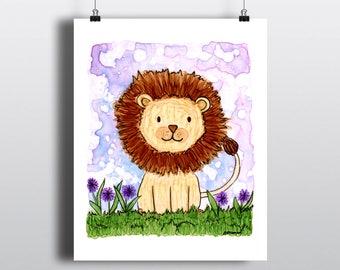 Lion Nursery Art Print, Baby Animal Art, Lion Wall Art, Zoo Jungle Baby Room Decor, Fine Art Giclee Print