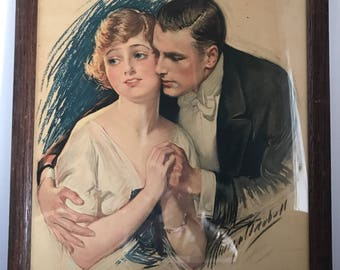 Antique Print Framed Loving Young Couple Signed