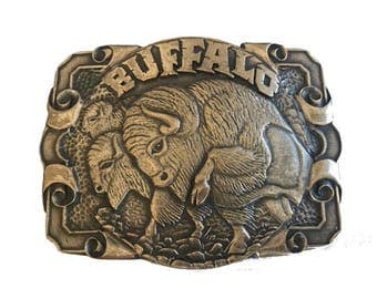 Vintage Solid Brass Charging Buffalo Belt Buckle - Bison - Gift Idea - Running - Bull - Animal Horn