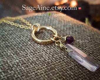 SageAine : Lilac Kunzite and Amethyst Gold Necklace, Reiki Charged, Crystal Healing, Crown and Heart Chakras, Tranquility, Gift for her