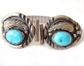 Vintage Navajo Pair Sterling Silver Turquoise Watch Band Attachments E. Spencer c. 1930