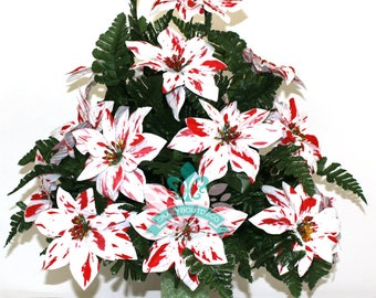 Beautiful XL Christmas Peppermint Poinsettias Cemetery Vase Arrangement