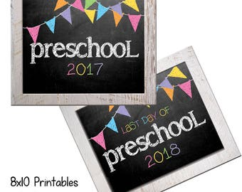 Preschool First Day Back to School (Bonus Last Day, too!) Photo Props. Print this fall & spring. Printable 8x10 Kids Instant Download.