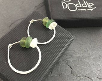 Green Sea Glass Hammered Circle earrings